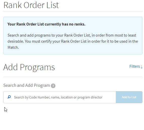 add program to rank order list