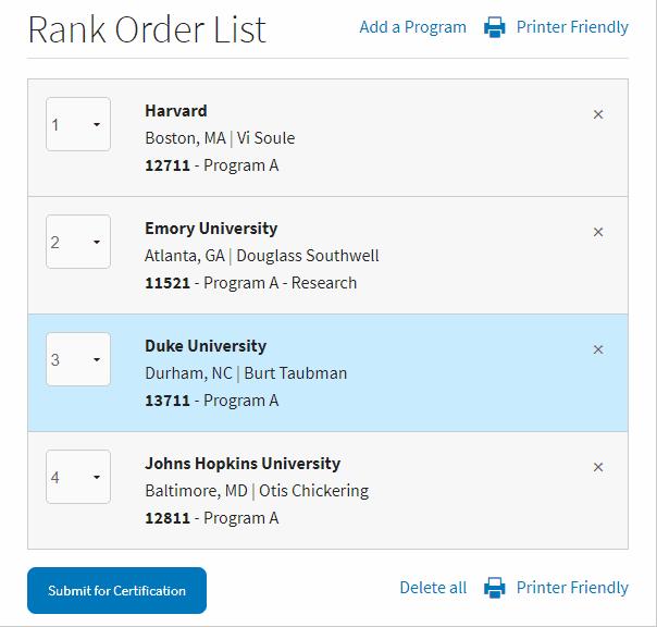 move program to rank order list