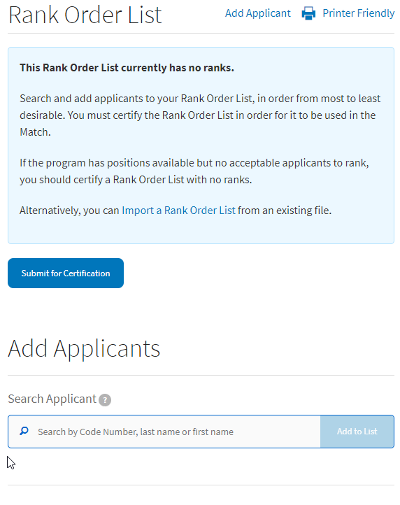 add applicants to rank order list